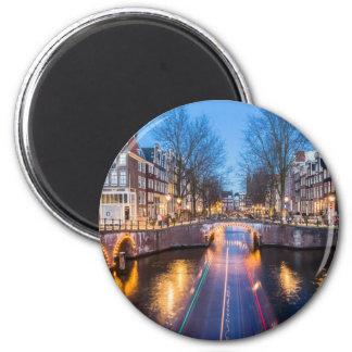 夜のアムステルダム運河 マグネット