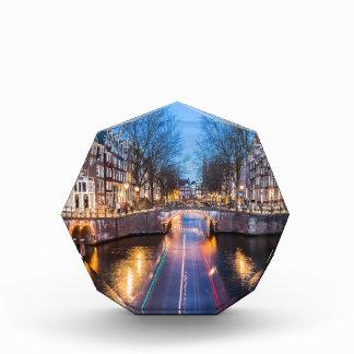 夜のアムステルダム運河 表彰盾