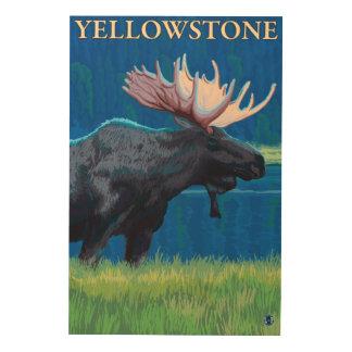 夜のアメリカヘラジカ-イエローストーン国立公園 ウッドウォールアート