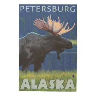夜のアメリカヘラジカ-ピーターズバーグ、アラスカ ウッドウォールアート