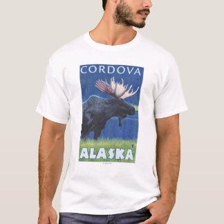 夜のアメリカヘラジカ- Cordova、アラスカ Tシャツ