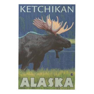 夜のアメリカヘラジカ- Ketchikan、アラスカ ウッドウォールアート