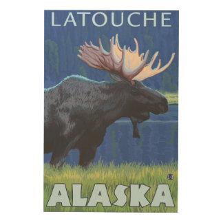 夜のアメリカヘラジカ- Latouche、アラスカ ウッドウォールアート