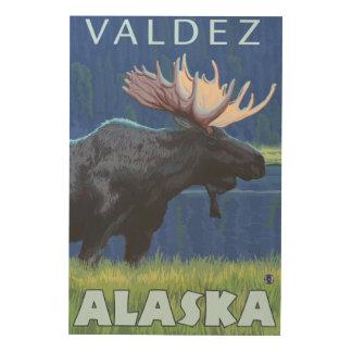 夜のアメリカヘラジカ- Valdez、アラスカ ウッドウォールアート
