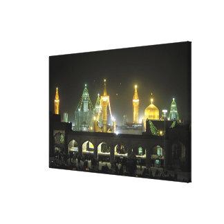 夜のイマームのレーザの神社の複合体、マシュハド、 キャンバスプリント