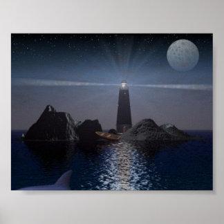 夜のイルカそして灯台 ポスター