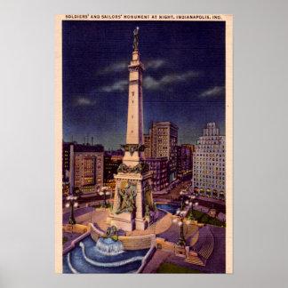 夜のインディアナポリスインディアナ記念碑の円 ポスター
