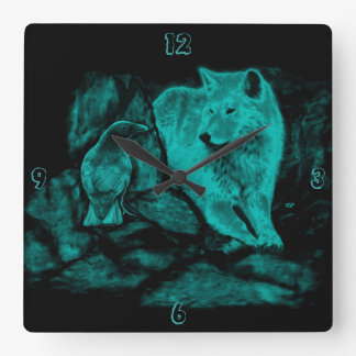 夜のオオカミそしてワタリガラス ウォールクロック