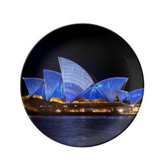 夜のオーストラリアシドニー・オペラハウス 磁器プレート