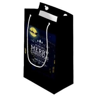 夜のサンタのそりのメリークリスマス スモールペーパーバッグ