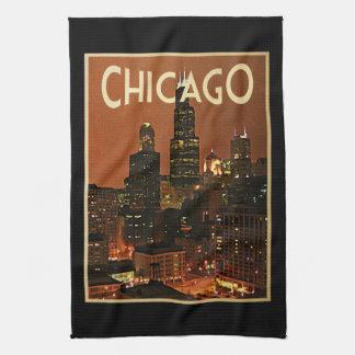 夜のシカゴ キッチンタオル