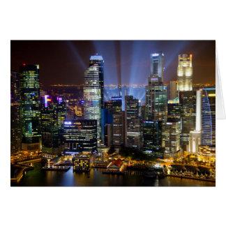 夜のシンガポール都心の都市 カード