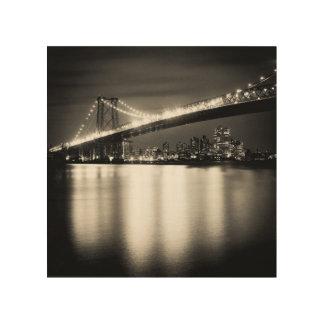 夜のニューヨークシティのウィリアムズバーグ橋 ウッドウォールアート