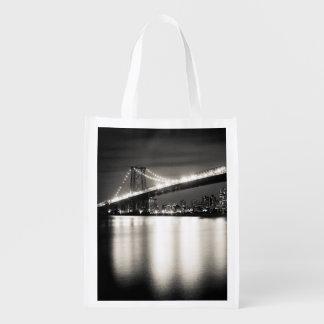 夜のニューヨークシティのウィリアムズバーグ橋 エコバッグ