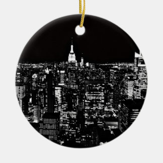 夜のニューヨークシティ セラミックオーナメント