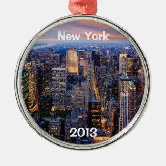 夜のニューヨーク メタルオーナメント