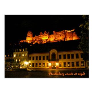 夜のハイデルベルクのロマンチックな城 ポストカード