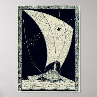 夜のバイキングのLongshipの航行 ポスター