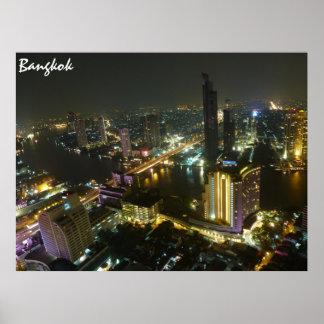 夜のバンコクのスカイライン ポスター