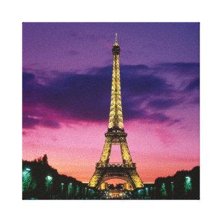 夜のパリ美しいエッフェル塔 キャンバスプリント