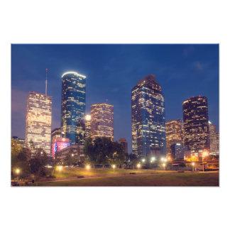 夜のヒューストンスカイライン フォトプリント