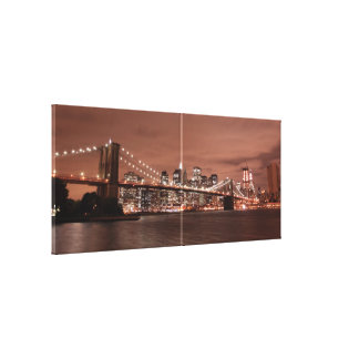 夜のブルックリン橋そしてマンハッタンスカイライン、 キャンバスプリント