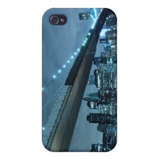 夜のブルックリン橋そしてマンハッタンスカイライン iPhone 4 CASE
