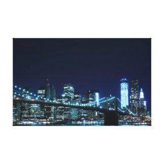 夜のブルックリン橋 キャンバスプリント