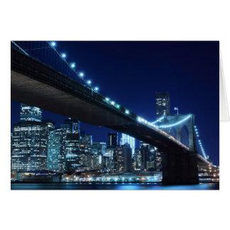 夜のブルックリン橋、ニューヨークシティ カード