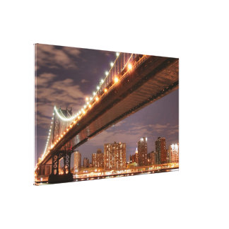 夜のマンハッタン橋、ニューヨークシティ キャンバスプリント