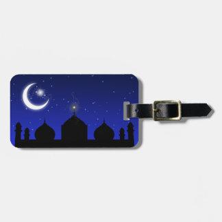 夜のモスクのシルエット-荷物のラベル ラゲッジタグ