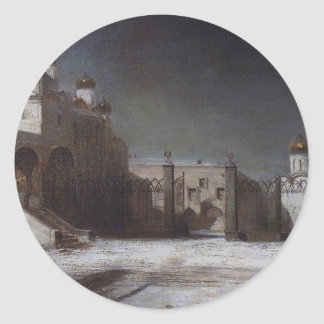夜のモスクワクレムリンのカテドラルの正方形 ラウンドシール