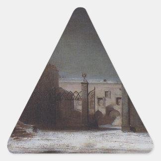 夜のモスクワクレムリンのカテドラルの正方形 三角形シール