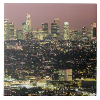 夜のロサンゼルスの都市景観 正方形タイル大