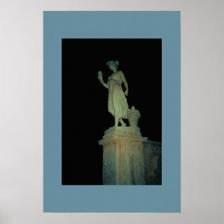 夜のローマの彫像 ポスター