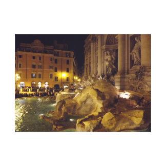 夜のローマのTreviの噴水 キャンバスプリント