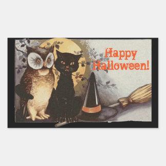 夜のヴィンテージのハロウィンのフクロウそして黒猫 長方形シール