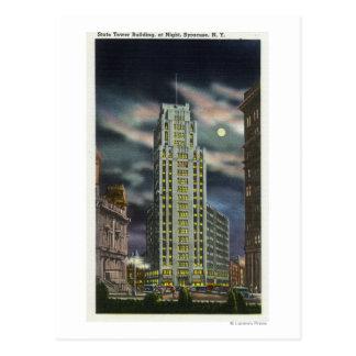 夜の州タワーの建物の外観 ポストカード