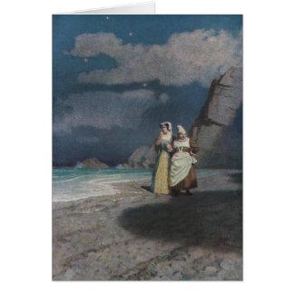 夜の灰色の鉄片ビーチの2人の女性 カード