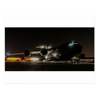 夜の航空機 ポストカード