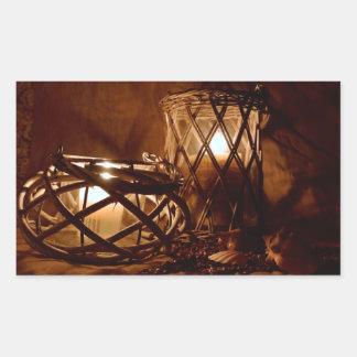夜の蝋燭 長方形シールステッカー