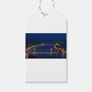 夜の鎖式吊り橋ハンガリーブダペスト ギフトタグ