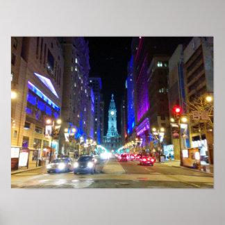 夜の間にフィラデルヒィアの市役所 ポスター