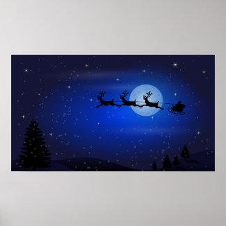 夜の飛行サンタそして彼のトナカイ ポスター