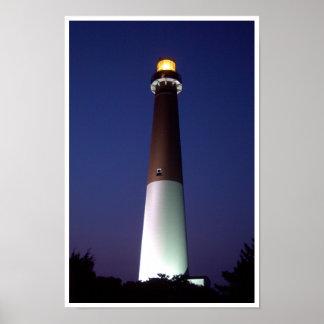 夜のBarnegatの灯台 ポスター