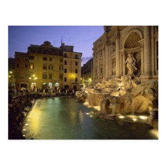 夜のTreviの噴水、ローマ、ラツィオ州、イタリア ポストカード