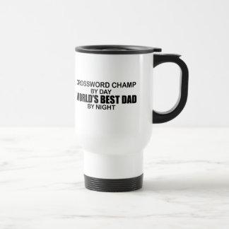 夜までにクロスワードパズルのチャンピオンの世界で最も最高のなパパ トラベルマグ