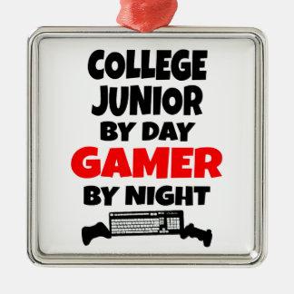 夜までに日のゲーマーによる大学後輩 シルバーカラー正方形オーナメント