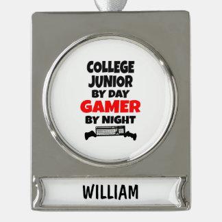 夜までに日のゲーマーによる大学後輩 シルバープレートバナーオーナメント
