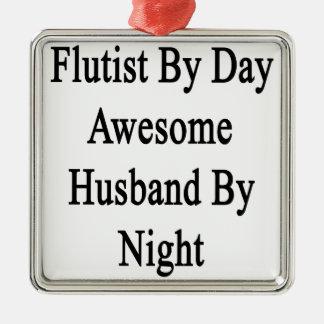 夜までに日の素晴らしい夫によるフルート奏者 メタルオーナメント